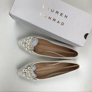 Lauren Conrad LCPrettyWhite  Flats Flowers Shoes